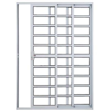 Porta Balcão de 3 Folhas Sequenciais com Travessa Linha Malta 210 x 150cm Branco - Prado Alumínio - 10.06.01.2656 - Unitário