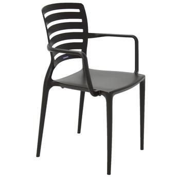 Cadeira Tramontina Sofia Marrom com Braços Encosto Vazado Horizontal - Tramontina - 92036109 - Unitário