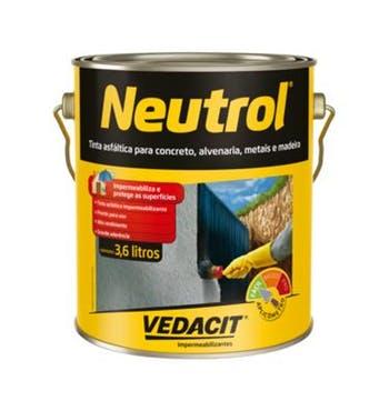 Tinta Asfáltica Neutrol 3,6L - Vedacit - 112132 - Unitário