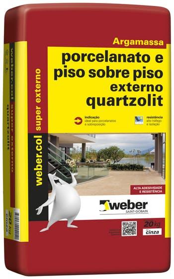 Argamassa para Porcelanato e Piso sobre Piso Cinza Uso Externo 20kg Embalagem Papel - Quartzolit - 0100.00001.0020PA - Unitário
