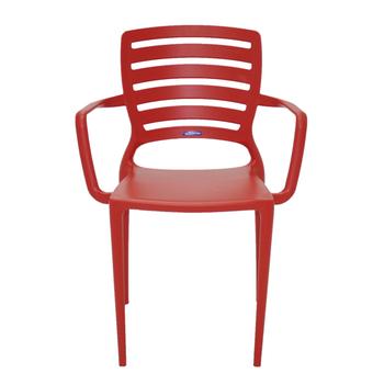 Cadeira Tramontina Sofia Vermelha com Braços Encosto Vazado Horizontal - Tramontina - 92036040 - Unitário