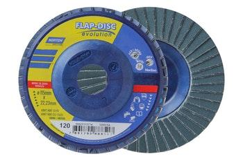 Disco Flap Evolution R822 grão 120 115x22,23mm - Norton - 66623313734 - Unitário