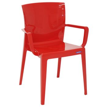 Cadeira Tramontina Victória Vermelha com Braços Encosto Fechado em Polipropileno - Tramontina - 92044040 - Unitário