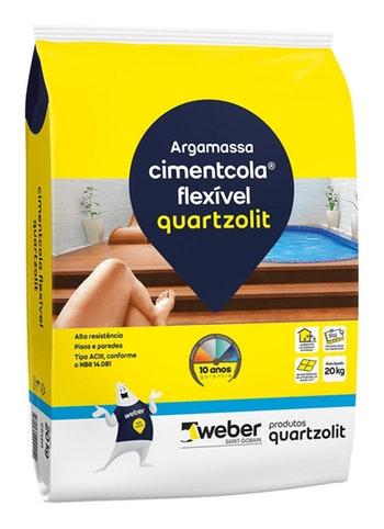 Argamassa Cimentcola Flexível Cinza 20kg Tipo ACIII Embalagem Plástica - Quartzolit - 0069.00001.0020PL - Unitário