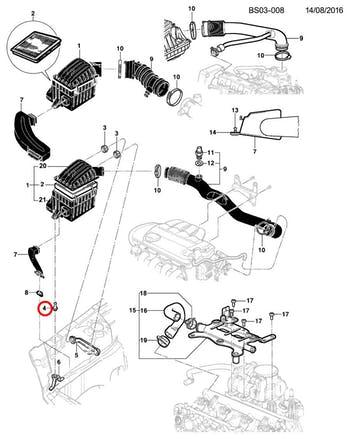 Coxim Isolador De Borracha Antiruído Da Caixa Do Filtro De Ar Do Motor - Original Chevrolet - 90411706 - Unitário