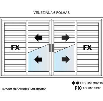 Janela Veneziana de 6 Folhas Linha Malta 100 x 120cm Branco - Prado Alumínio - 10.04.01.2381 - Unitário