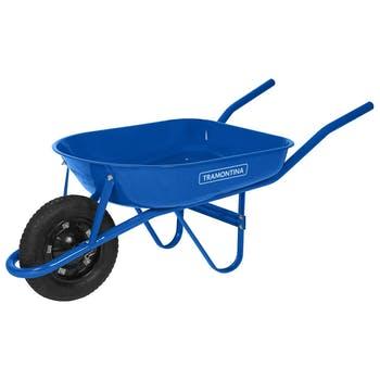 Carrinho de Mão com Caçamba Redonda Metálica Azul 50L Braço Metálico e Pneu com Câmara - Tramontina - 77704432 - Unitário