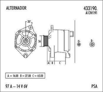 Alternador - Valeo - 433190. - Unitário
