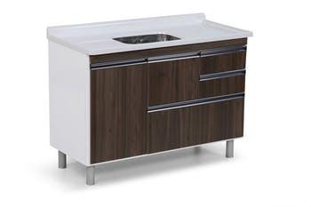 Gabinete para Cozinha Coliseu Madeirado com 2 Gavetas+Gavetão Castaine 118,7cm - A.J.Rorato - 586040 - Unitário