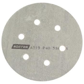 Disco de lixa seco A319 grão 40 152mm c/ 6 furos - Norton - 05539542553 - Unitário