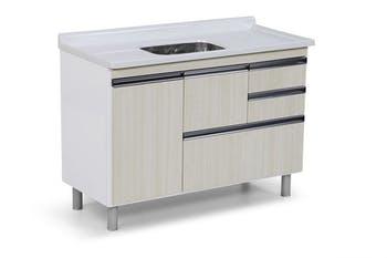 Gabinete para Cozinha Coliseu Madeirado com 2 Gavetas+Gavetão Palissandro Ártico 118,7cm - A.J.Rorato - 586031 - Unitário