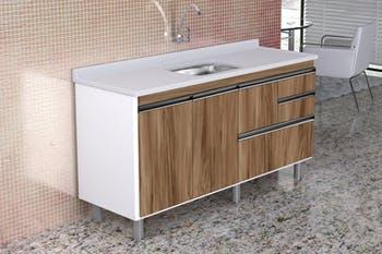 Gabinete para Cozinha Coliseu Madeirado com 2 Gavetas+Gavetão Nogal Sevilha 144,2cm - A.J.Rorato - 586229 - Unitário