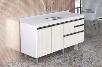 Gabinete para Cozinha Coliseu Madeirado com 2 Gavetas+Gavetão Palissandro Ártico 144,2cm - A.J.Rorato - 586231 - Unitário