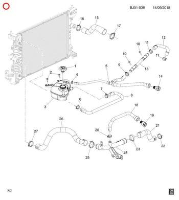 Mangueira de saída do radiador - Original Chevrolet - 94773689 - Unitário