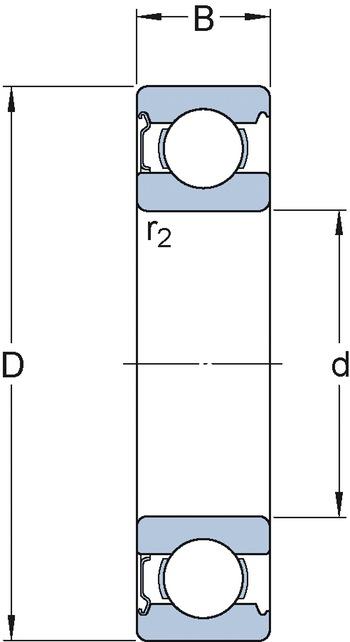 Rolamento rígido de esferas. ranhura para anel de retenção no anel externo com o anel de retenção - SKF - 6203-2ZNR - Unitário