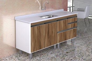 Gabinete para Cozinha Coliseu Madeirado com 2 Gavetas+Gavetão Nogal Sevilha 174,5cm - A.J.Rorato - 586529 - Unitário