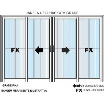 Janela de 4 Folhas com Grade Linha Malta 100 x 120cm Branca - Prado Alumínio - 10.03.01.2351 - Unitário
