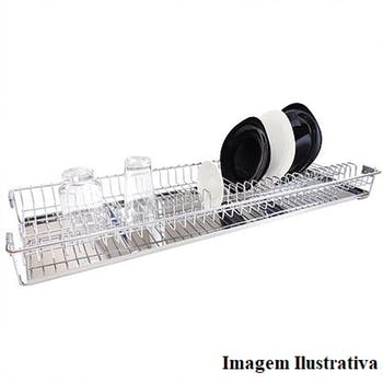 Escorredor de Embutir Inox para 33 Pratos 770 x 70 x 300mm