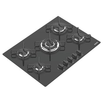Cooktop a Gás em Vidro Temperado Preto com Acendimento Automático Penta 5 Queimadores - Tramontina - 94708201 - Unitário
