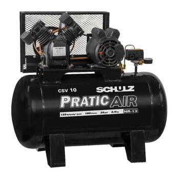 Compressor de Ar Alternativo Estacionário de Pistão CSV10/100 com Motor Monofásico 2P 2CV 127V - Schulz - 921.3542-0 - Unitário