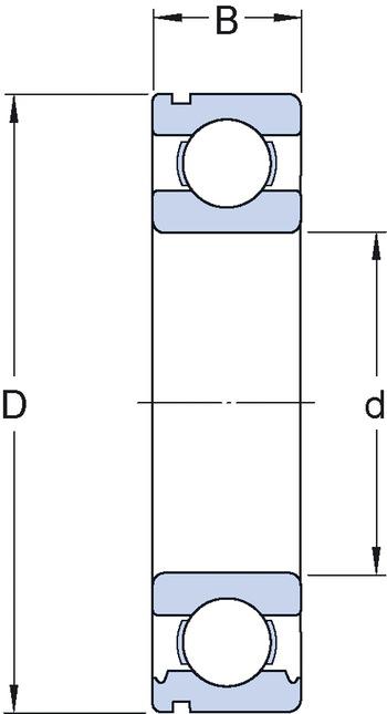 Rolamento rígido de esferas. ranhura para anel de retenção no anel externo com o anel de retenção - SKF - 6310 NR/C3 - Unitário