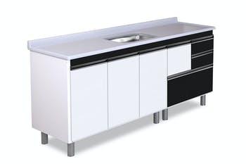 Gabinete para Cozinha Coliseu Madeirado com 2 Gavetas+Gavetão Preto 195,1cm - A.J.Rorato - 586642 - Unitário