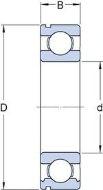 Rolamento Câmbio Eixo Secundário. Intermediário e da Caixa de Tranferência OPALA - SKF - 6306 NR - Unitário