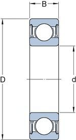 Rolamento rígido de esferas. ranhura para anel de retenção no anel externo com o anel de retenção - SKF - 6306-2ZNR - Unitário