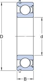 Rolamento rígido de esferas em aço inoxidável. preenchido com Solid Oil - SKF - W 6003-2RS1/W64F - Unitário