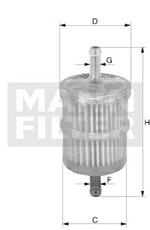 Filtro Blindado do Combustível CHEVETTE 1992 - Mann-Filter - WK44/3 - Unitário