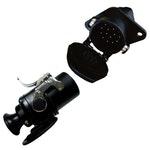 Tomada de Engate (Macho+Fêmea) Redonda 15 Polos c/ Iluminação, Abs e Rastreador Polarizada em Nylon - DNI - DNI 8400 - Unitário