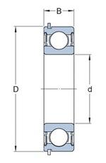 Rolamento rígido de esferas. ranhura para anel de retenção no anel externo com o anel de retenção - SKF - 6004-2RSHNR - Unitário