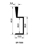 Perfil Puxador de Alumínio SP-7000 Fosco Ácido 22mm c/3m SP Alumínio