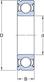 Rolamento rígido de esferas - SKF - 6306 - Unitário