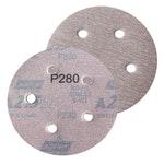 Disco de lixa seco A275 grão 280 127mm  c/ 5 furos - Norton - 66261086365 - Unitário